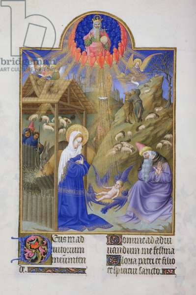 Ms 65/1284 f.44v The Nativity, from the 'Tres Riches Heures du Duc de Berry' (vellum)