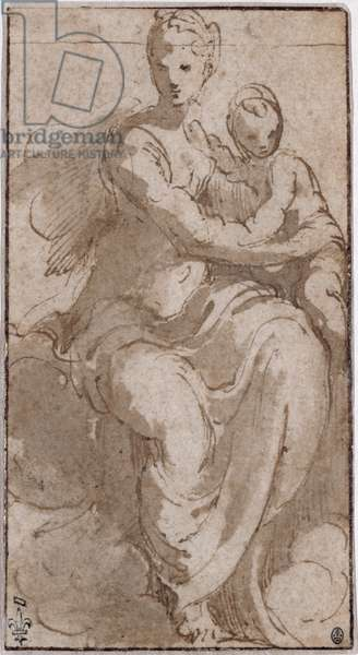 Virgin and Child on a cloud (pen, wash & bistre on paper)