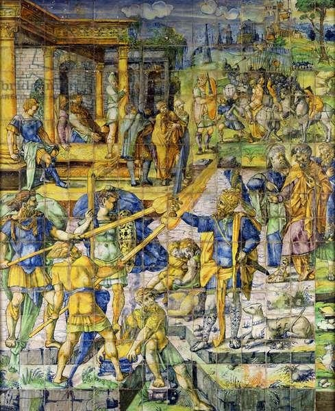 Mucius Scaevola at the Camp of Porsenna, Rouen, 1542 (ceramic)