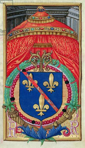 Ms 48/1605 fol.2 Coat of Arms of Renee de Bourbon (1468-1534) from 'Rituel et Ceremonial a l'Usage de Renee de Bourbon, Abbesse de Fontevrault' (vellum)