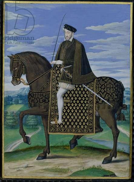 Equestrian portrait of King Henri II (1519-59) of France (gouache on vellum)