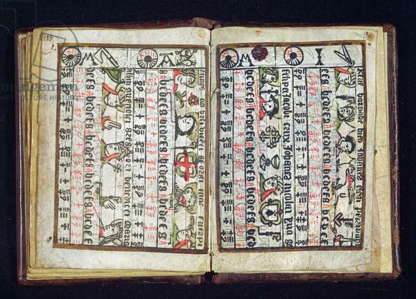 Breton portulan and calendar showing March and April, May and June, 1546 (xylograph)