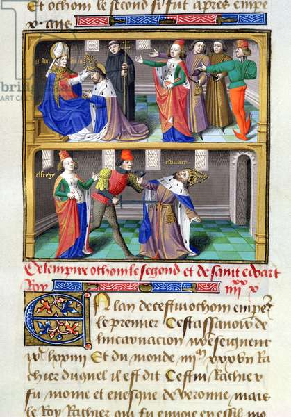 Ms 722/1196 f.137v St. Dunstan (c.909-88) crowning St. Edward the Martyr (c.963-78) and his murder at Corfe Castle, from Le Miroir Historial, by Vincent de Beauvais (vellum)