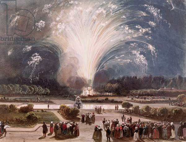 Fireworks at Fontainebleau to celebrate the Marriage of the duc d'Orleans in 1837 (w/c on paper)