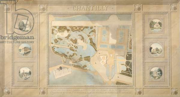 Map and gardens of Chantilly, 1819 (w/c on paper)