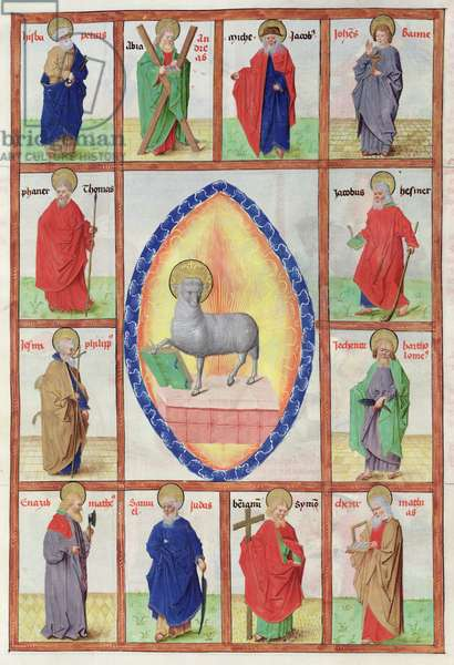 Ms 724/1596 fol.11r The Lamb of God and the Apostles, from 'Liber Floridus' by Lambert de Saint-Omer, c.1448 (vellum)