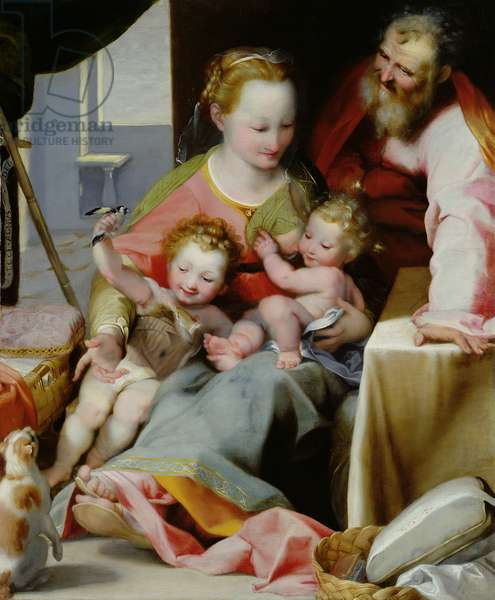 The Holy Family with a Cat, c.1574-77 (oil on panel)