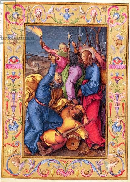 Ms 39/1601 The Kiss of Judas, from 'Passio Domini Nostri Jesu Christi Secundum Joannem' (vellum)