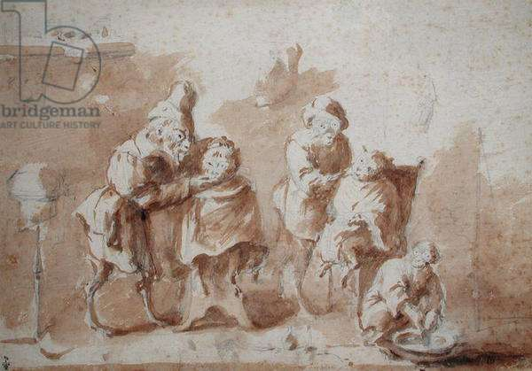 The Monkey Barbers, c.1660 (graphite & wash on paper)