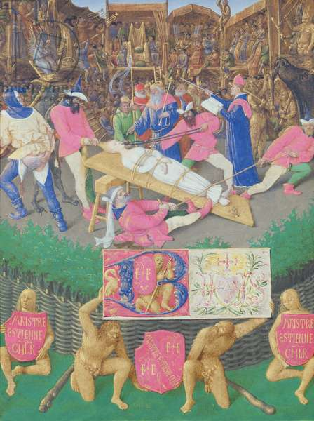 Ms Fr 71 fol.39 Martyrdom of St. Apollonia, from the 'Heures d'Etienne Chevalier', c.1445 (vellum)