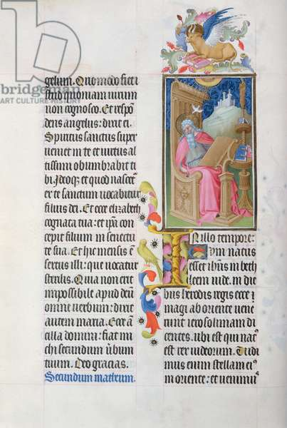 Ms 65/1284 f.18v St. Matthew Writing his Gospel, from the Tres Riches Heures du Duc de Berry, early 15th century (vellum)