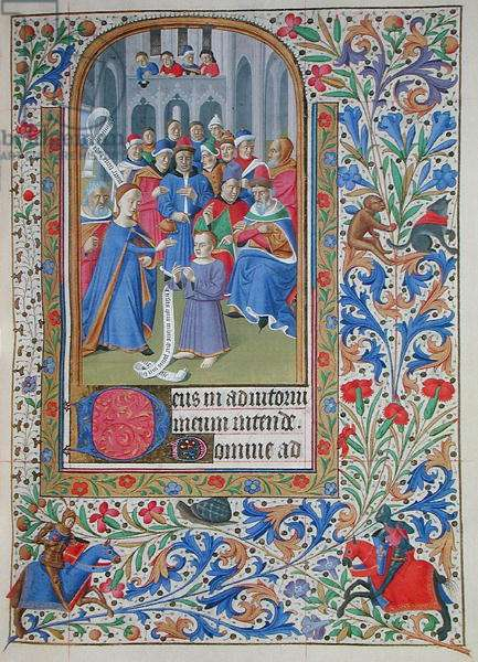Ms 76/1362 Jesus Among the Doctors, from the Hours of the Duchess of Burgundy, c.1450 (vellum)