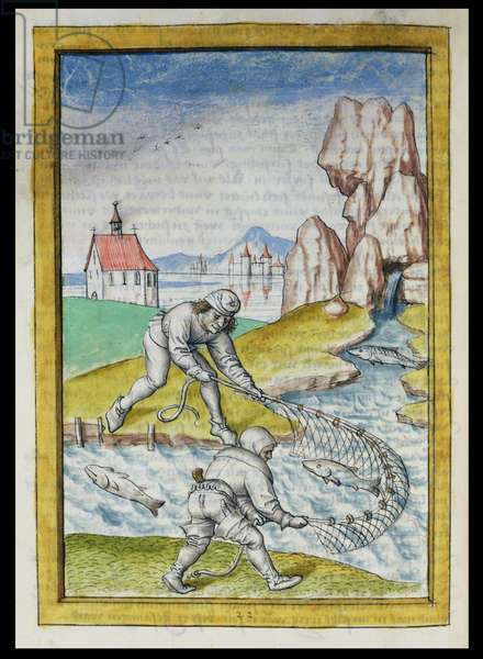 Ms 680/1389 fol.22 Fishing with a Net, from 'The Fables of Bidpai', c.1480 (w/c on paper)
