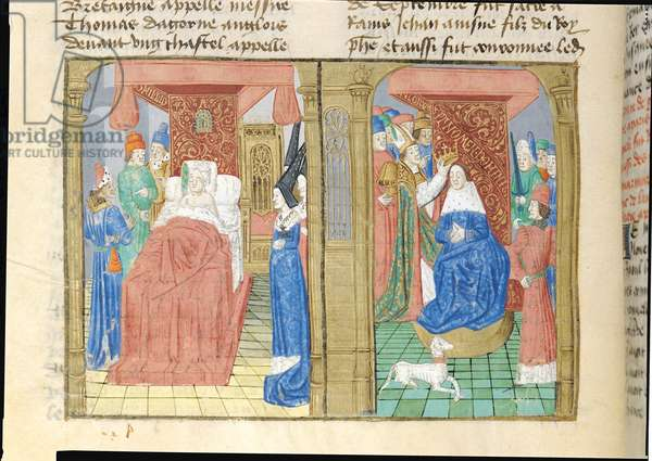 Ms.873/501 f.184v The Death of Philippe de Valois and the Coronation of Jean II le Bon, King of France, from Froissart's Chronicle, c.1472 (vellum)