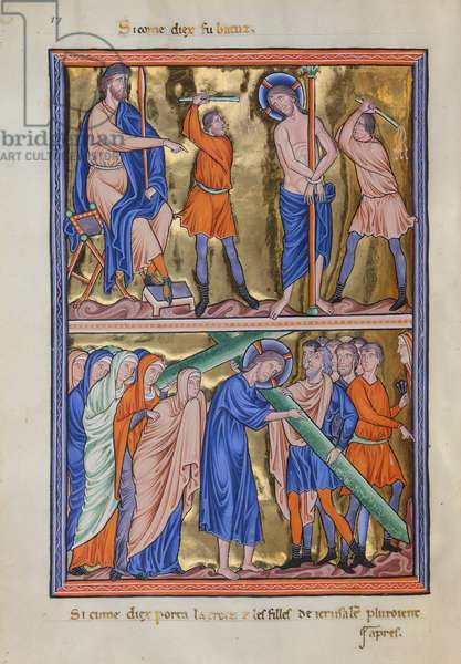 Mc 9/1695 fol. 26 Flagellation and Carrying of the Cross, Ingeborg Psalter of Denmark, c.1210 (vellum)