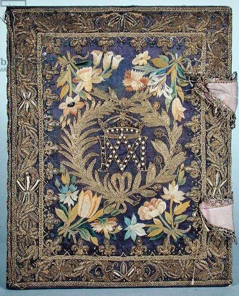 Ms 537/1629 Cover of 'La Vie de Saint Denis' by M.P. Courtot (embroidered silk)