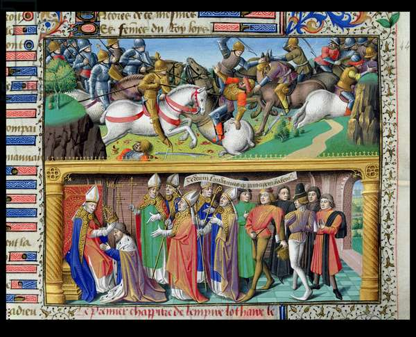 Ms 722/1196 f.245r Battle Scene and the Coronation of Lothair II (1075-1137) King of Germany and Holy Roman Emperor, from Le Miroir Historial, by Vincent de Beauvais (vellum)