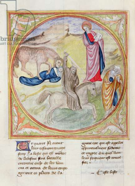 Ms. 28/1378 fol.67v The Two Witnesses Killed by the Beast, from 'Histoire Extraite de la Bible et Apocalypse' (vellum)