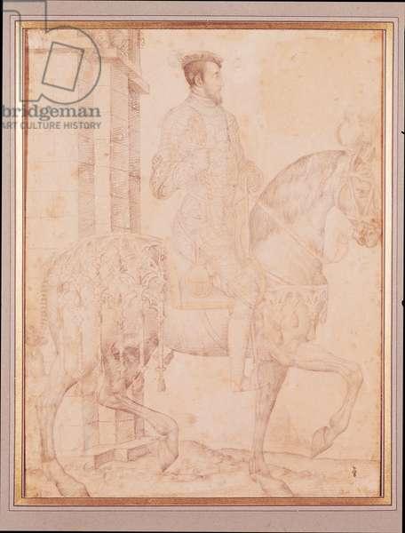 Equestrian Portrait of Henri II (1519-59) (pencil on paper)