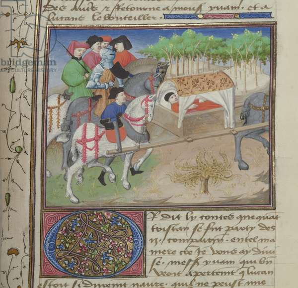 Ms 648/404 fol.200r Man being carried in a litter, from Roman des Chevaliers Galaad, Tristan et Lancelot (vellum)