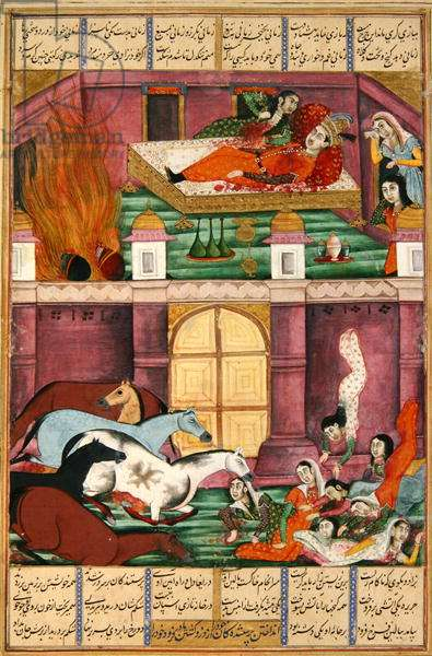 Ms 607/1144 fol.2v The Death of Firoud and his Mother, Djerireh, illustration from the 'Shahnama' (Book of Kings), by Abu'l-Qasim Manur Firdawsi (c.934-c.1020) (gouache on paper)