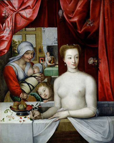 Gabrielle d'Estrees (1573-99) in her Bath (oil on canvas)
