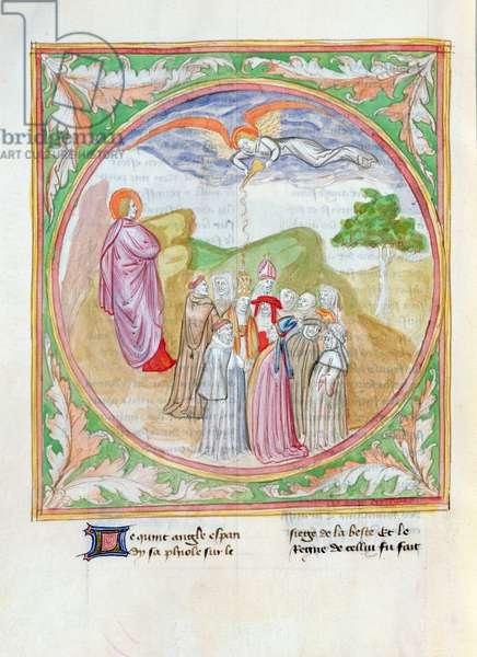 Ms. 28/1378 fol.97v The Seven Bowls of God's Wrath, the First Angel Pours his Bowl on the Land, from 'Histoire Extraite de la Bible et Apocalypse' (vellum)