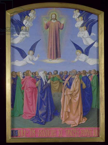 Ms Fr.71 fol.23 The Ascension, from the Hours of Etienne Chevalier, c.1445 (vellum)