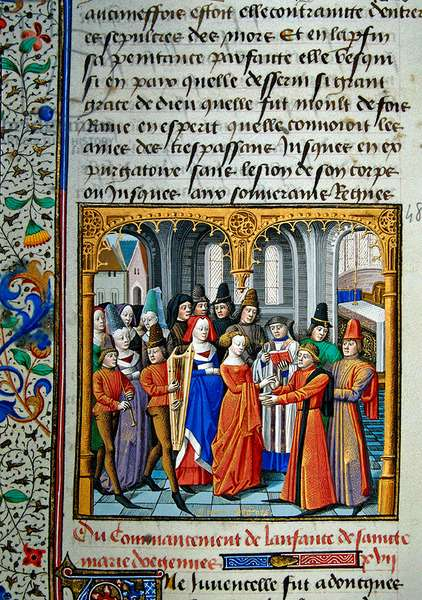 Ms 722/1196 fol.396v, The Childhood of St. Marie d'Oignies, from Le Miroir Historial, by Vincent de Beauvais (vellum)