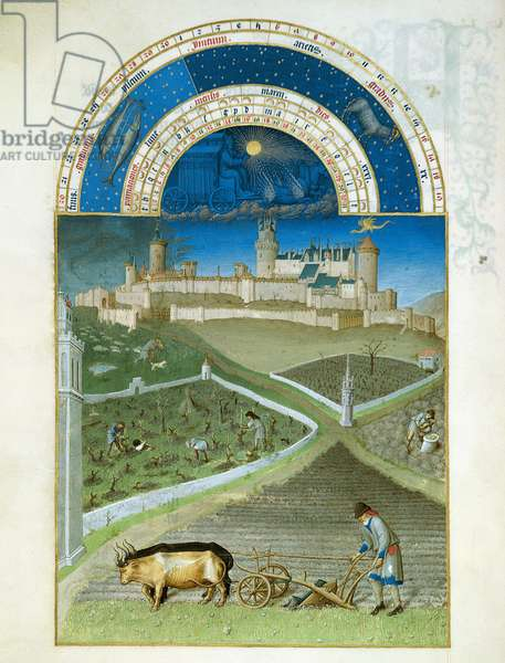 Ms 65/1284 f.3v March: peasants at work on a feudal estate, from the 'Tres Riches Heures du Duc de Berry' (vellum) (for facsimile copy see 65835)