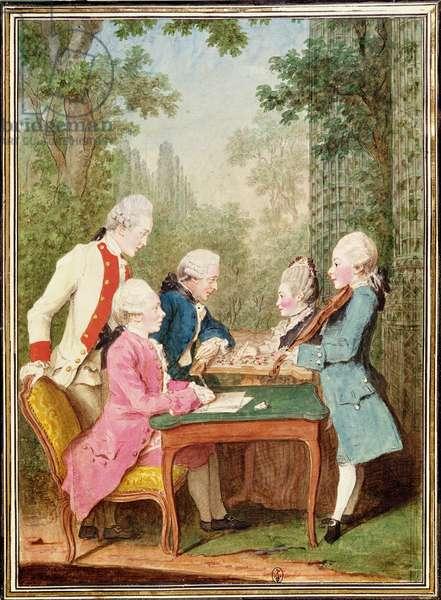 Monsieur et Madame Lallemant de Nantouillet (M. & Mme de Marly) and their family  (w/c on paper)
