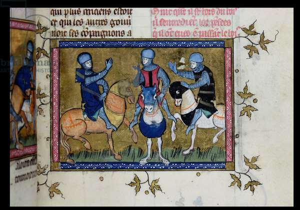 Ms 137/1687 fol.145 Three knights exchanging thoughts, from Recueil de Traites de Devotion, 1371-78 (vellum)