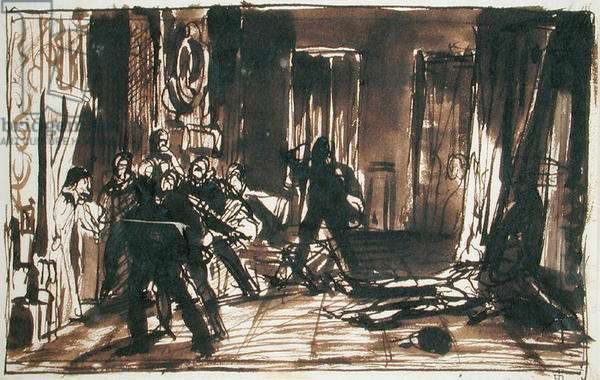 Study for 'The Assassination of the Duc de Guise', 1834 (pen & ink on paper) (see 178746)