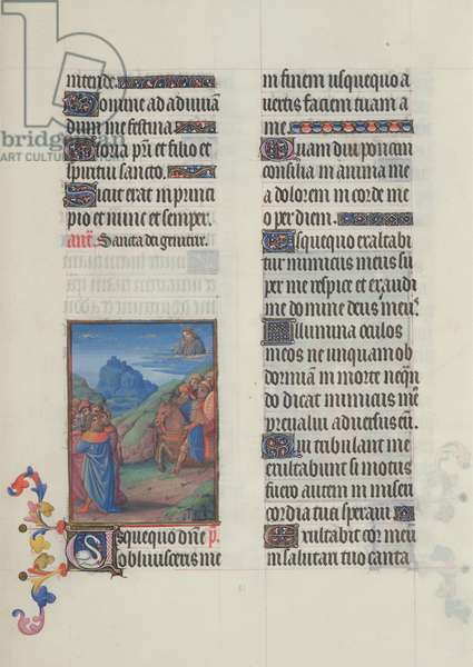 Ms. 65/1284 fol. 61r David, illustration of the Psalms, from 'Très Riches Heures du Duc de Berry' (vellum)