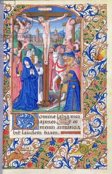 Ms 81/1057 fol.85 Calvary, from the 'Heures de Nicolas le Camus' (vellum)