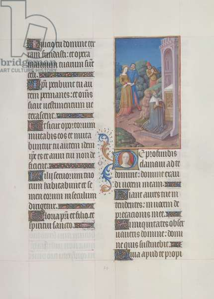 Ms. 65/1284 fol. 70r Psalm 129, David in Prayer, from 'Très Riches Heures du Duc de Berry' (vellum)