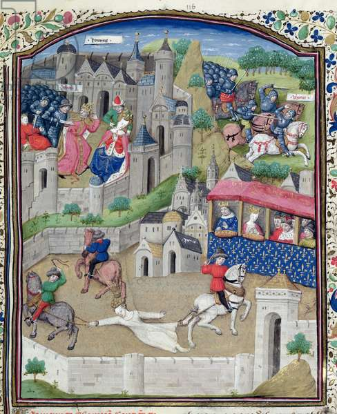 Ms 860/401 fol.296 The Execution of Brunhilda (534-613) from the Story of Phocas, from 'Cas des Nobles Hommes et Femmes', by Giovanni Boccaccio (1313-75) translated by Laurent de Premierfait, 1465 (vellum)