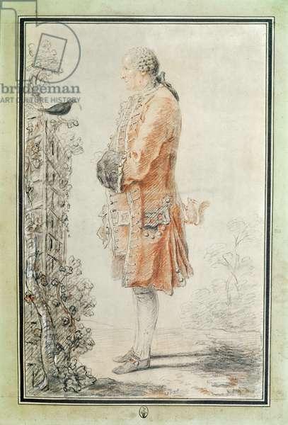 Man Feeding a Blackbird, 1760 (red chalk & pencil on paper)
