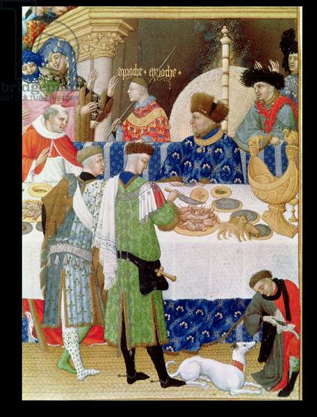 Ms 65/1284 f.1v January: Detail of the Duc de Berry at a Banquet (vellum) (see also 8433, 65833 and 175017)