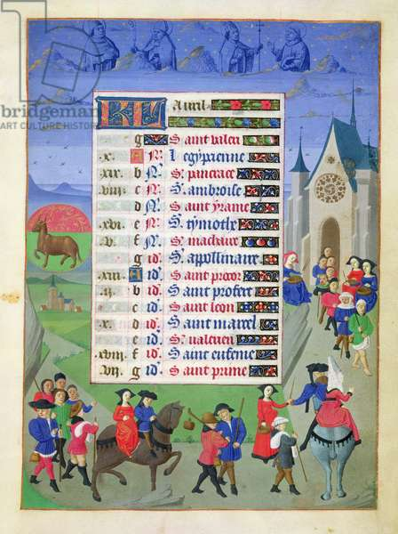 Ms 76/1362 fol.4r April: Procession to Church, from the 'Hours of the Duchess of Burgundy', c.1450 (vellum)