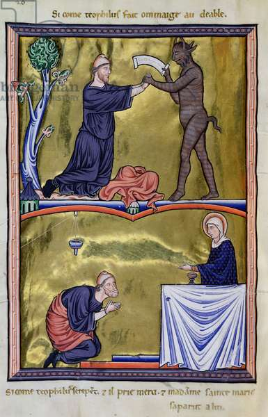 Ms 9/1695 fol.35v The Story of St. Theophilus, Theophilus and the Devil, and the Repentence of Theophilus, from the 'Psautier d'Ingeburg de Danemark', c.1210 (vellum)