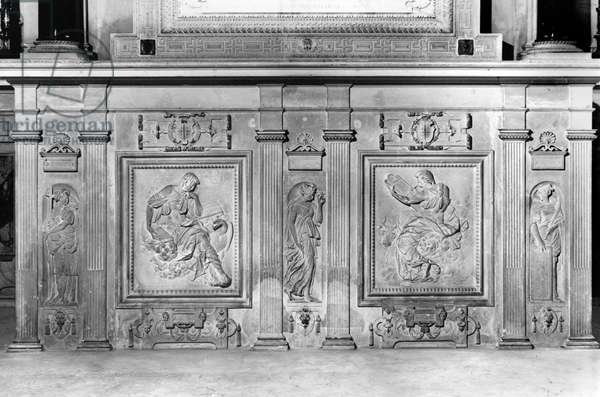 Hope, St. John the Evangelist, Charity, St. Luke the Evangelist, Faith, detail from the chapel altar of Chateau d'Ecouen, c.1544-52 (marble) (b/w photo)