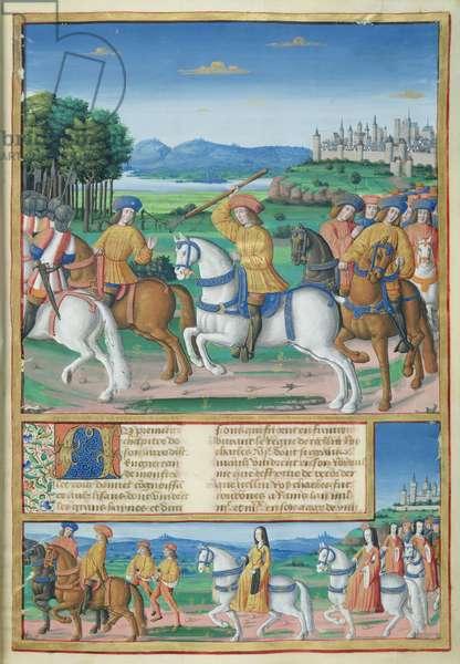 Ms 875/321 t.1 fol.1 The Folly of Charles VI (1368-1422) (vellum)