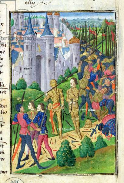 Ms 873/501 fol.292v Brimont de Laval taken prisoner by Gui de Graville and led to the Chateau d'Evreux, from 'Froissart's Chronicle', 1472 (vellum)