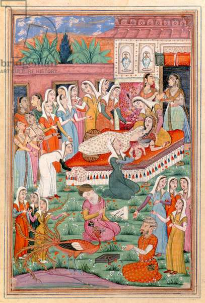 Ms 607/1144 f.1v The Birth of Rostam by Caesarean, illustration from the 'Shahnama' (Book of Kings), by Abu'l-Qasim Manur Firdawsi (c.934-c.1020) (gouache on paper)
