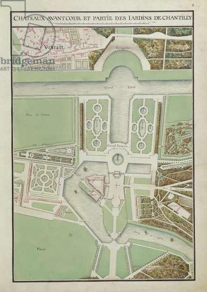 Forecourt and gardens, fol. 2 of the Atlas du Comte du Nord, Château de Chantilly, 1784 (ink & w/c on paper)