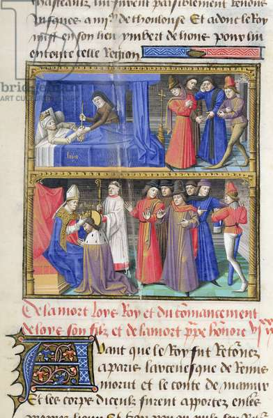 Ms 722/1192 fol.432r Death of Louis VIII (1187-1226) and the coronation of St. Louis, from Le Miroir Historial, by Vincent de Beauvais (vellum)