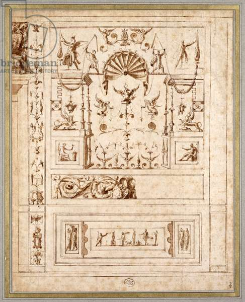 Design for a mural decoration with grotesques for the Cagliostra of the Castel Sant' Angelo in Rome, c.1544 (pen & brown ink on paper)