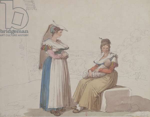 Peasants from Frascati, 1820 (pencil & w/c on paper)