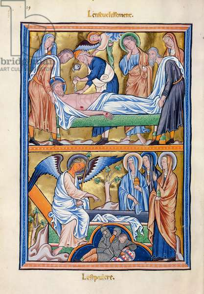 Ms 9/1695 f.28 The Entombment of Christ and the Holy Women at the Tomb, from the 'Psautier d'Ingeburg de Danemark', c.1210 (vellum)